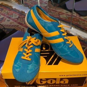 """Gola blue and yellow """"Capital"""" sneakers."""